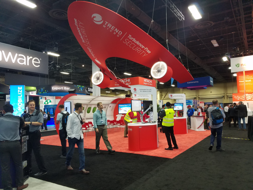 Trend Micro had a cool looking booth with an airplane theme