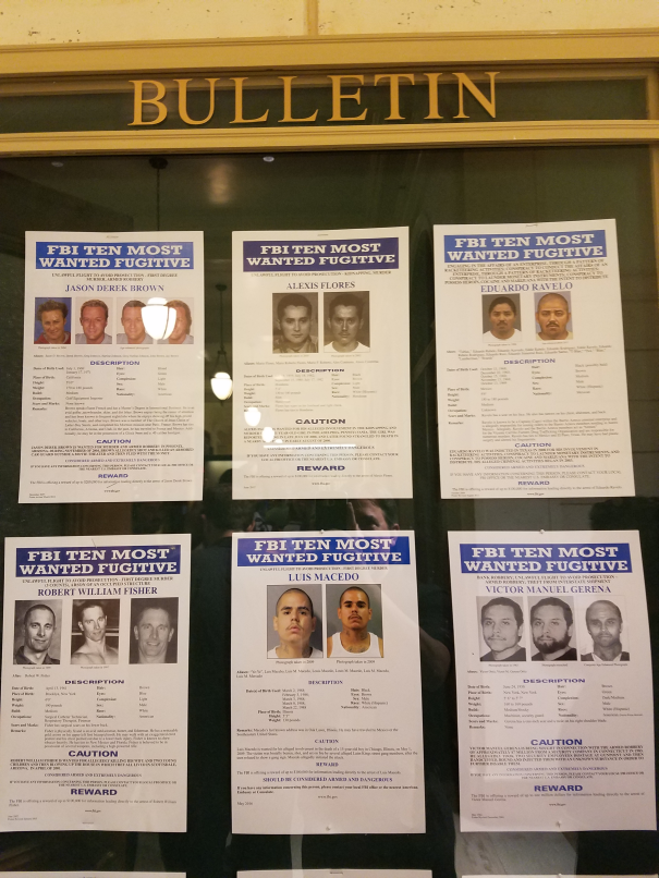 FBI's 10 most wanted at the Mob Museum, had to double check that I wasn't  listed